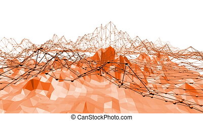 Orange low poly surface as molecular transforming shining...