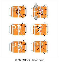 Orange lunch box cartoon character with various angry expressions
