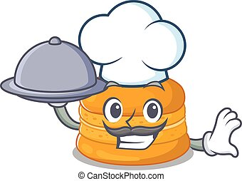 Orange macaron as a chef cartoon character with food on tray