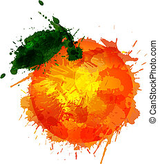Orange  made of colorful splashes on white background