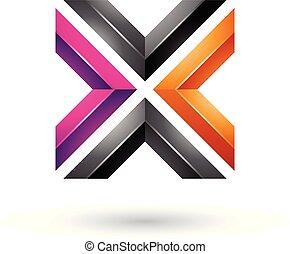 Orange Magenta and Black Square Shaped Letter X Vector Illustration