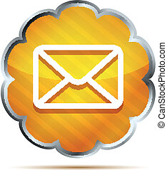 orange mail icon isolated on white