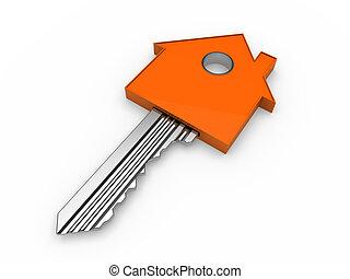 orange, maison, 3d, clã©, maison
