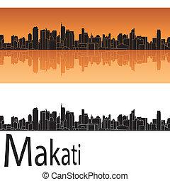 orange, makati, skyline, hintergrund