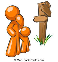 Orange Man and Toddler at Crossroads - An orange man parent...