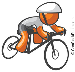 Orange Man Bike Rider Athlete