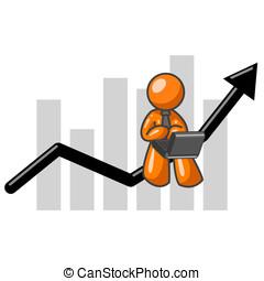 Orange Man Computer and Bar Graph - An orange man on a...