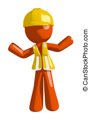 Orange Man Construction Worker  Apathetic or Confused