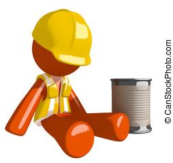 Orange Man Construction Worker  Beggar