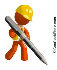 Orange Man Construction Worker