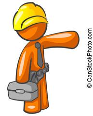 Orange Man Construction Worker Presenting