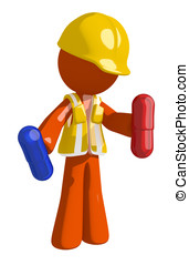 Orange Man Construction Worker  Holding Pills