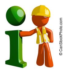 Orange Man Construction Worker  Info Icon