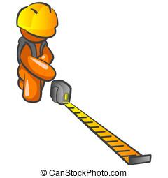 Orange Man Construction Worker Measuring - An orange man...
