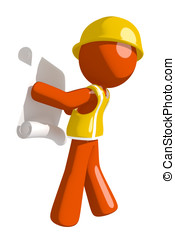 Orange Man Construction Worker  Reading Schematic
