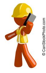Orange Man Construction Worker  Talking on PDA Phone
