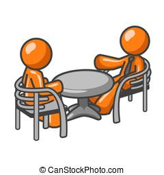 Orange Man Consultation - Two orange men at a table...
