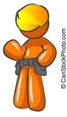 Orange Man Contractor Construction Man
