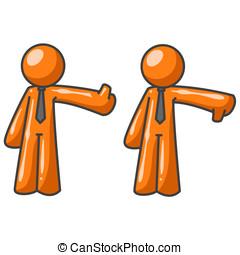 Orange Man Critics Thumbs Up Thumbs Down - Two orange men...
