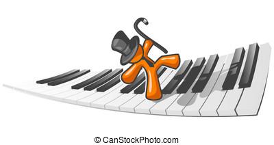 Orange Man Dancing on Piano - An orange man dancing accross...