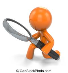 Orange Man Detective - An orange man detective, holding a...