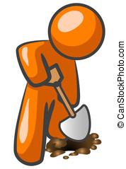 Orange Man Digging - An orange man digging in the ground.