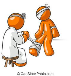 Orange Man Doctor Patient Injury - Orange man Doctor Patient...