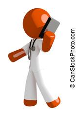 Orange Man Doctor Talking on PDA Phone
