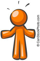 """Orange Man - An orange man shrugging as if to say \""""I don\'t..."""