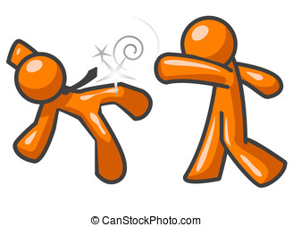 Orange Man Fighting - Two orange men fighting. One is...