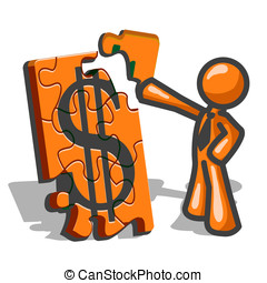 Orange Man Financial Puzzles - An orange man assembling a...