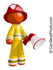 Orange Man Firefighter Posing with Megaphone