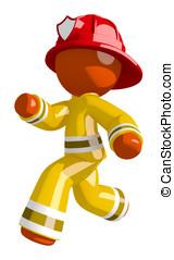 Orange Man Firefighter Running to Scene of Fire
