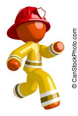 Orange Man Firefighter Running to Scene of Fire Right