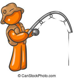 Orange Man Fishing - Orange Man holding a pole and fishing...