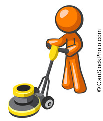 Orange Man Floor Buffer - Orange man buffing tile or carpet...