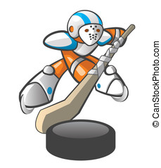 Orange Man Hockey Player