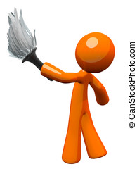 Orange Man Holding Feather Duster, Cleaner or Butler -...