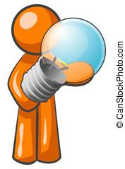 Orange Man Holding Light Bulb - An orange man holding a...