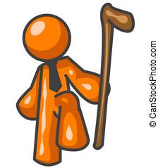 Orange Man Holding Walking Stick