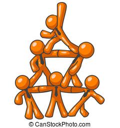 Orange Man Human Pyramid - Six orange men forming a human...