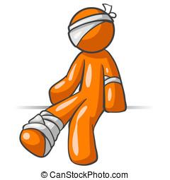 Orange Man Injured - A vector illustration of an orange man...
