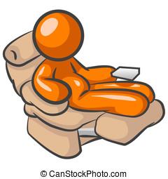 Orange Man Laziness - Orange man sitting at a chair doing...