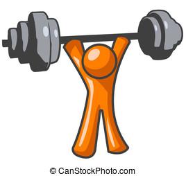 Orange Man Lifting Weights - An orange man lifting weights...