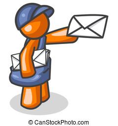 Orange Man Mail Deliverer - An orange man delivering mail.