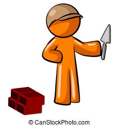 Orange Man Mason Worker