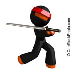 Orange Man Ninja Warrior Elegant Sword Pose