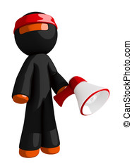 Orange Man Ninja Warrior Marketing Hero Pose with Megaphone