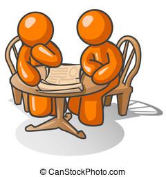 Orange Man Pondering Problem - Two orange men at a wooden...