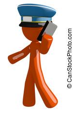 Orange Man Postal Mail Worker Talking on PDA Phone